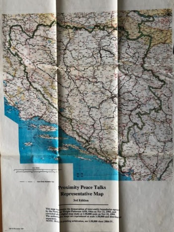 UNKNOWN: MAP TO DEFINE THE FRONTIERS OF BOSNIA AND HERCEGOVINA on